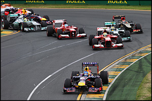Though Vettel lead through Turn 1, Red Bull's weaknesses soon became apparent.