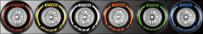 Pirelli will be supplying(From left) the Super-Soft, Soft, Medium, Hard, Intermediate and Wet tyres throughout 2013.