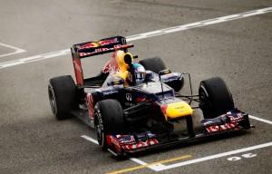 Sebastian Vettel crosses the line to win last year's Bahrain Grand Prix. ©Paul Gilham/Getty Images