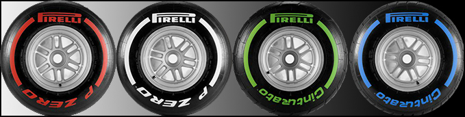 (From left to right) The Super-soft, Medium, Intermediate and Full-wet compound tyres.