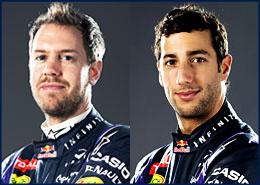 Sebastian Vettel 1, Daniel Ricciardo 3