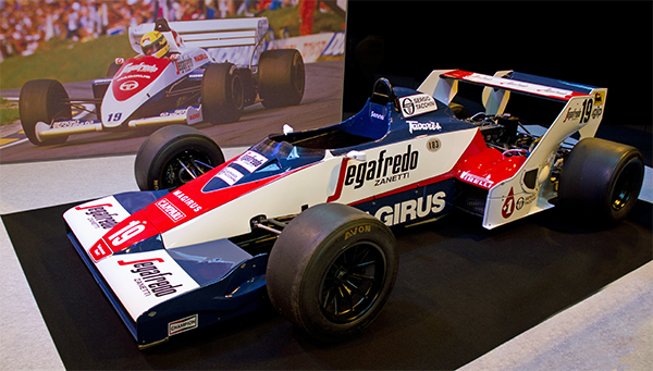 1984 Toleman TG183B (driven by Ayrton Senna), at the 2012 Autosport International. Tony Hisgett